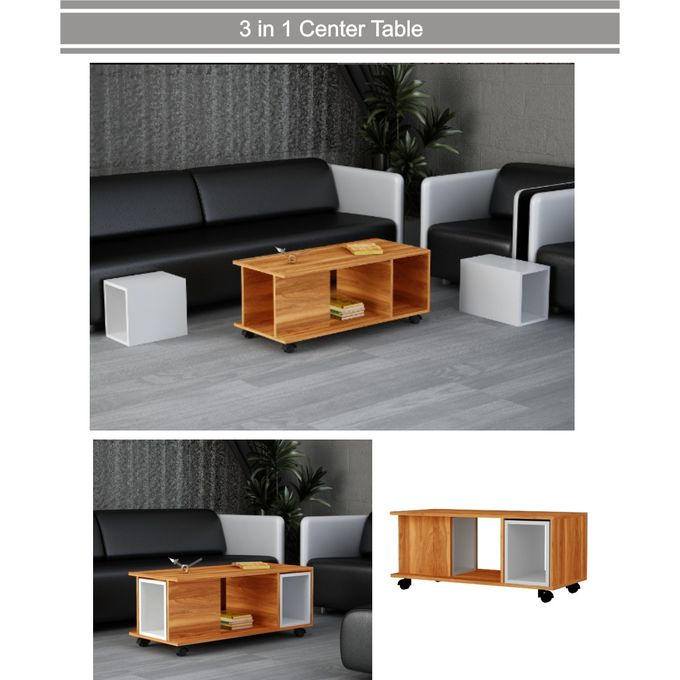 3 in 1 movable center table center table with side tables