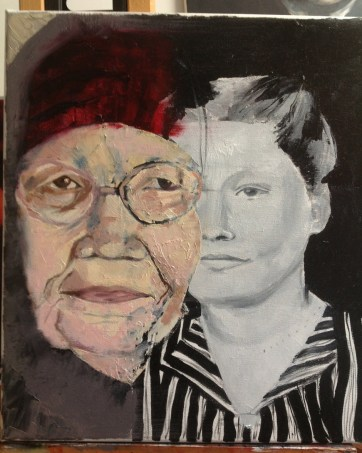Grandmother; oil on canvas; 40x40 cm
