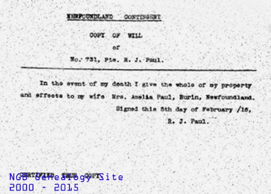 Private Reginald John Paul Regt # 731 Royal Newfoundland