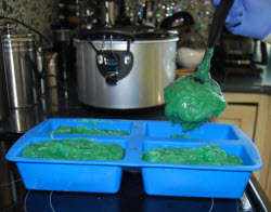 filling your mold with hot process soap