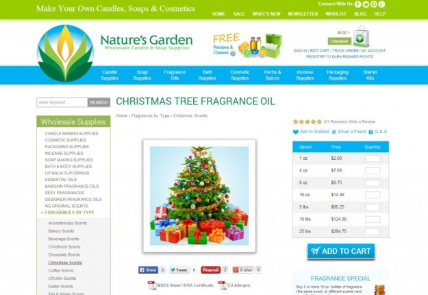 christmas tree fragrance page