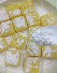 Lemon Squares Soap Recipe Adding the Powdered Sugar