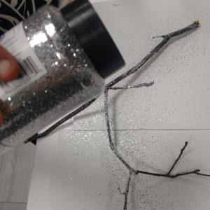 Scented Twig Centerpiece Recipe: Adding the Glitter