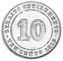1918-1920 Straits Settlements 10 Cents KM 29a Prices