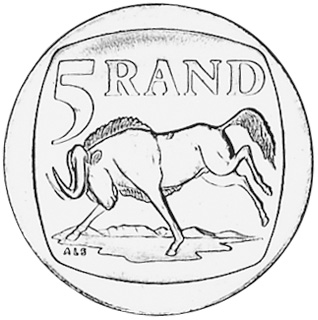South African Rand Coins Sketch Coloring Page