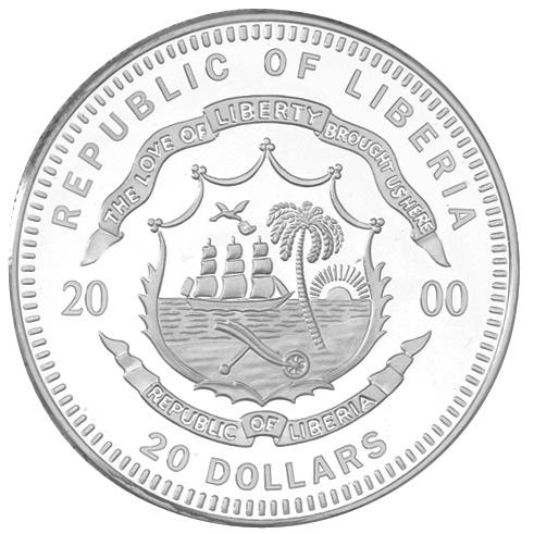 2000 Liberia 20 Dollars obverse