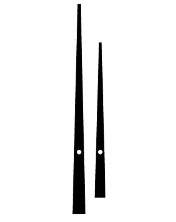 450mm 17.5 in Black pointed euroshaft clock hands