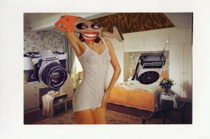Collage of women in underwear with household appliences