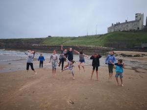 Participants of Baltic art lab on the beach