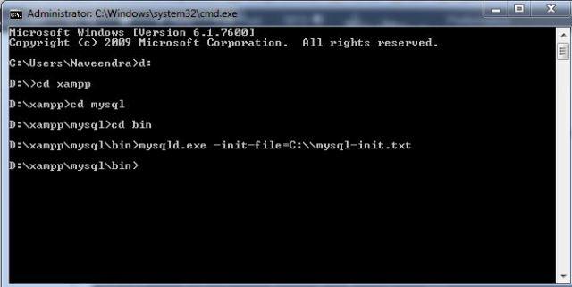 mysql password reset