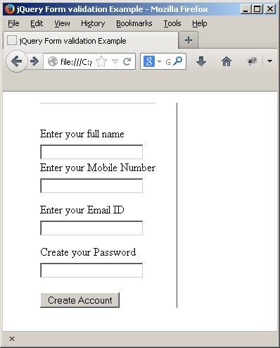 Form to validate using jQuery