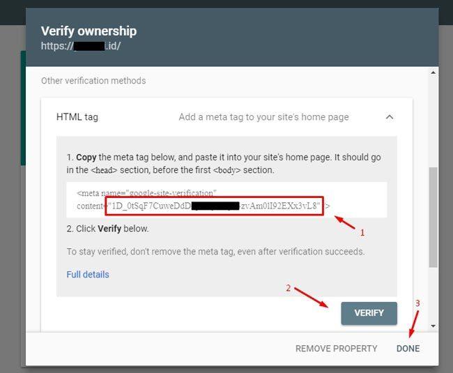 Memilih metode verifikasi properti di Webmaster