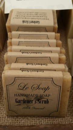 Le Soap has a variety of soaps and men's grooming products Gardener's soap is an excellent choice. Pair with a soap dish and nail brush for a quick and easy gift. Check out the shower steamers while you're there!
