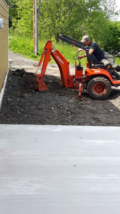Leveling, digging and moving dirt around...saved us tons of work! Thanks Charles!