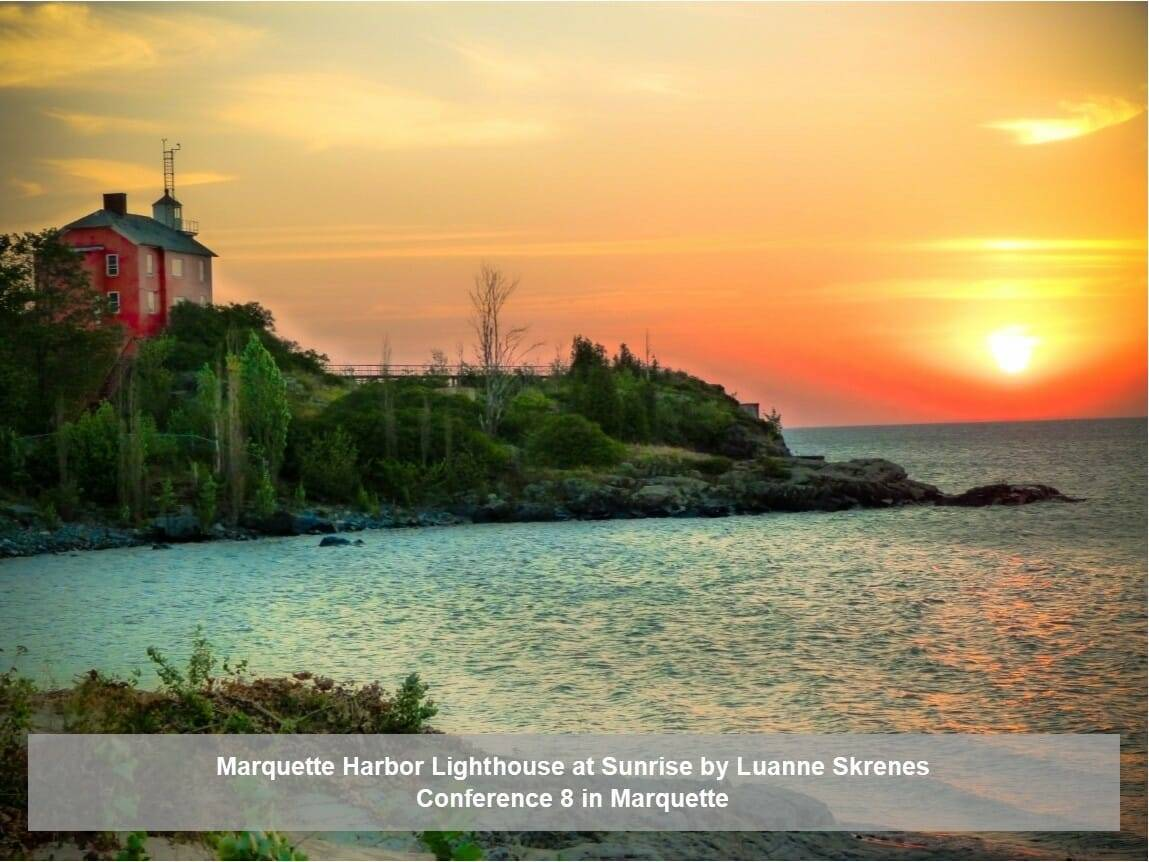 Marquette Harbor Lighthouse at Sunrise by Luanna Skrenes