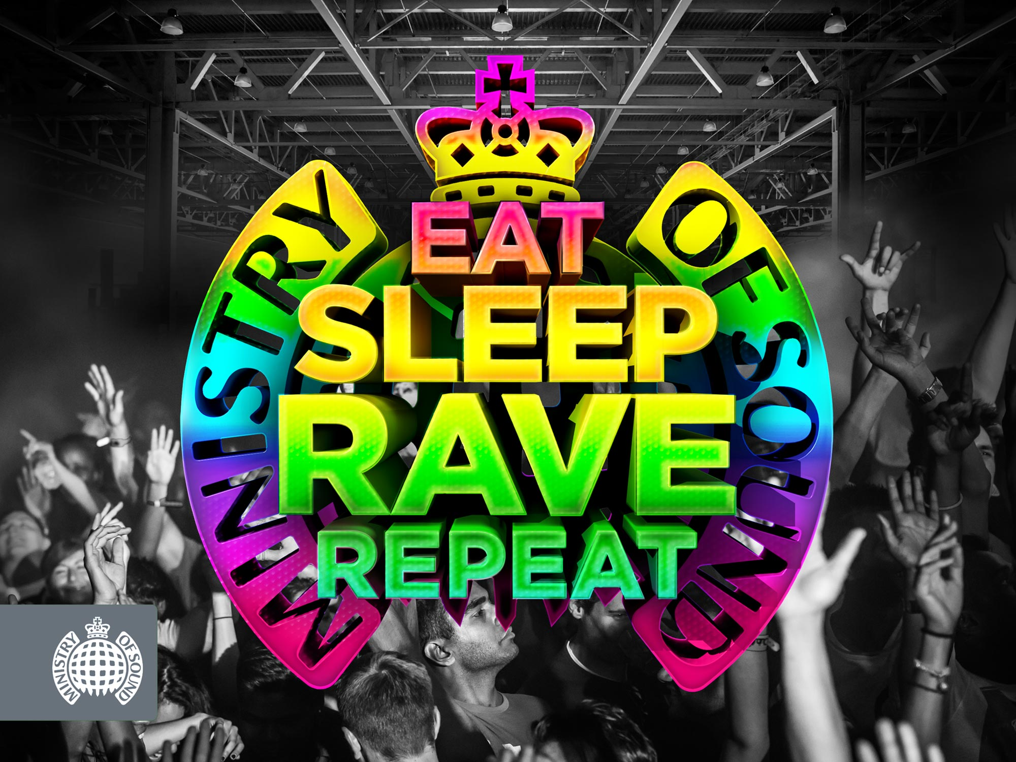 Bespoke design, 3D, ministry of sound, Eat Sleep Rave Repeat