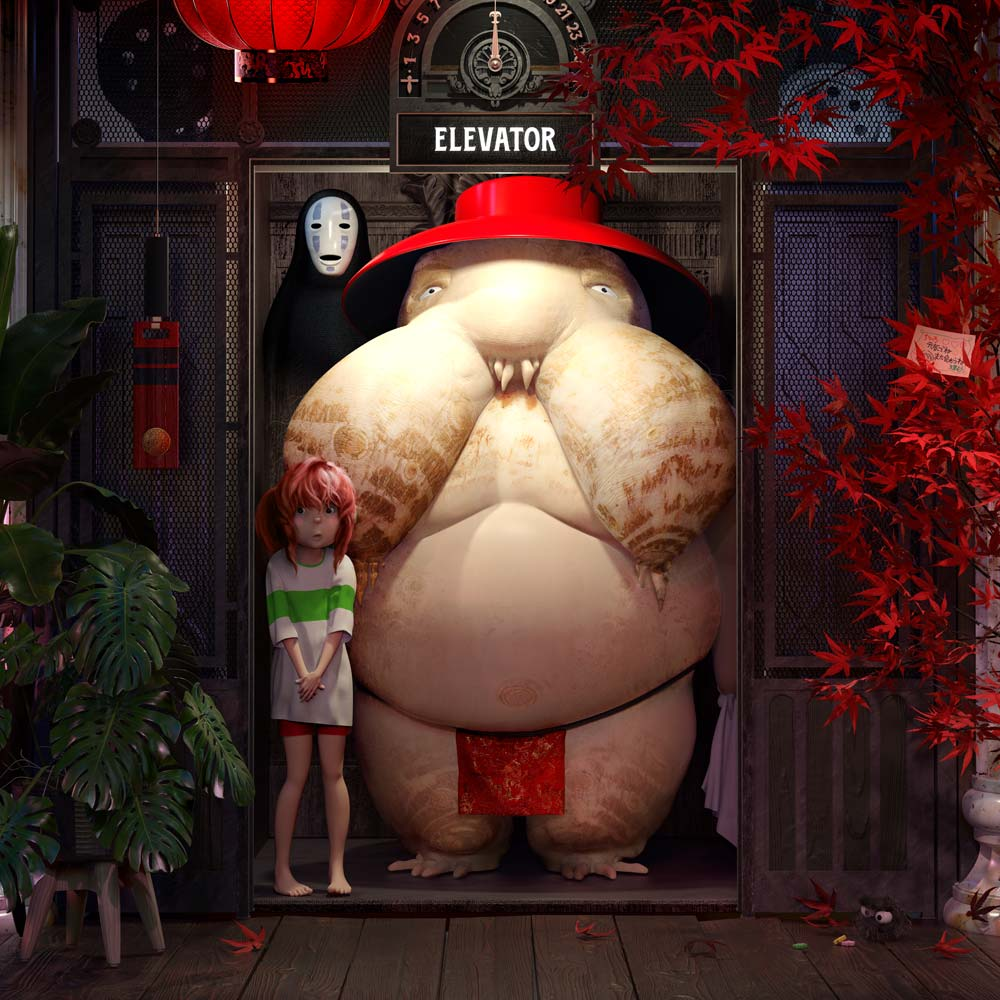 studio ghibli, spirited away, Johnnie Walker, Ngon, Manchester Agency, 3d artist