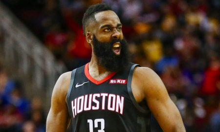 Harden flexes and smiles as the Rockets have enjoyed success with their MVP leading the way.