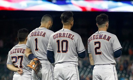 Astros Infield during pregame ceremony.