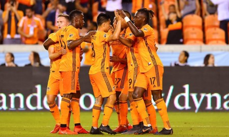 The Dynamo celebrate after defeating Columbus Crew SC