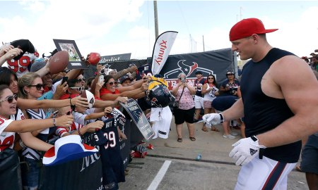 Watt greets fans at Texans training camp