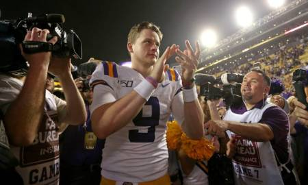 NCAA Football: LSU Tigers celebrate their win against the Aggies