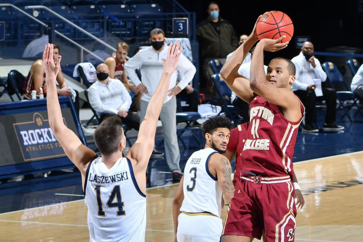 Eagles Fall 80-70 at Notre Dame. Steffon Mitchell logs a double-double