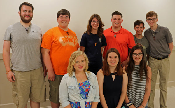 2017-2018 Exec (back, l-r): Matthan Mrkvicka, Colton Connors, Allisen Hunter, Jackson Connors, Andy Peterson, William Gentry. (front, l-r) Olivia Sweiger, Emma Donaldson, Malissa Hafley.