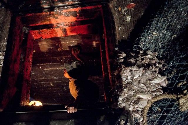 ชาวประมง, ประมงอวนลาก, เครื่องมืออวนลาก, จับปลากระเบน. ปลากระเบน