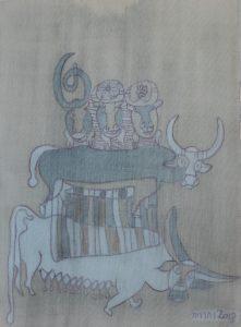 Buffalo Family, silk painting by Nguyen Thi Mai