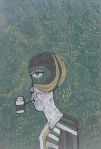 Emaciated, an acrylic on canvas painting by Nguyen Thi Mai