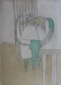 Green Buffalo, silk painting by Nguyen Thi Mai