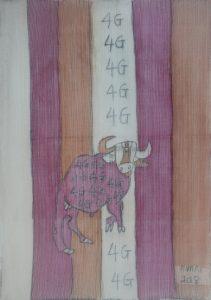 Modern Buffalo 01, silk painting by Nguyen Thi Mai