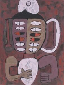 Three Wise Monkeys 27, an acrylic painting by Nguyen Thi Mai