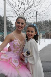 "Nutcracker leads: Sugar Plum Fairy ( Kayleigh Bowen from Gray) and ""Clara"" (Taylor Pronovost , Cumberland Foreside)"