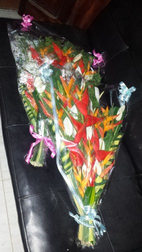 Bouquets as a welcome gift for us from my school