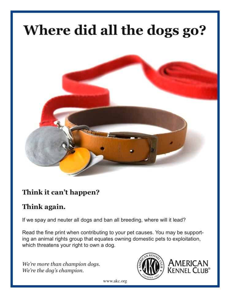 "AKC poster ""Where did all the dogs go?"