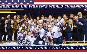 Equipe americana posa após vitória no OT contra o Canadá no IIHF Sub-18
