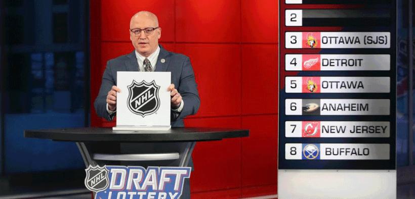 Transmissão da loteria do draft realizada pela NHL