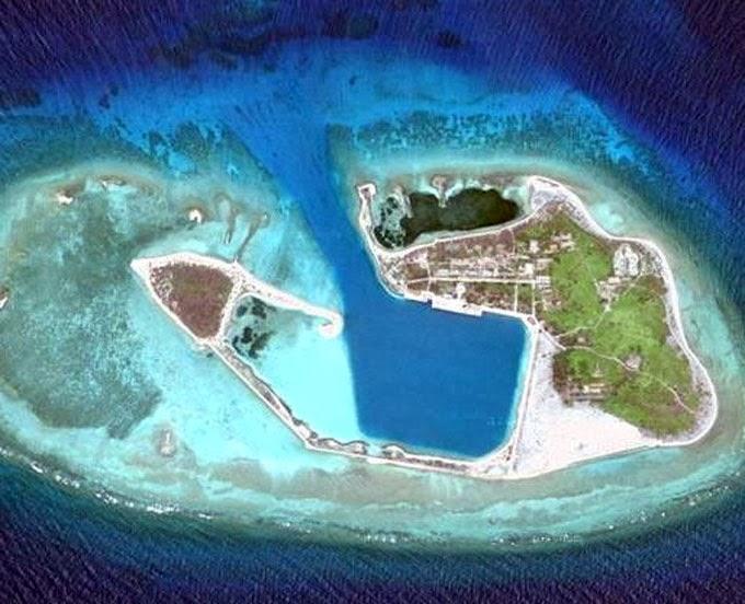 Ảnh vệ tinh đảo Quang Hòa (Duncan) nơi bắt đầu trận hải chiến Hoàng Sa 1974