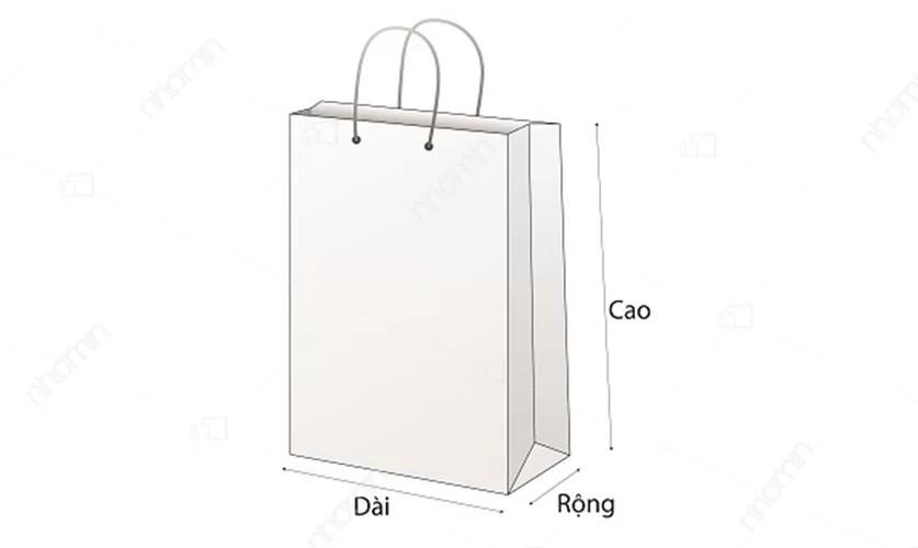 kích thước khi đặt in túi giấy