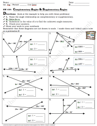 Pictures Supplementary Complementary Angles Worksheet ...