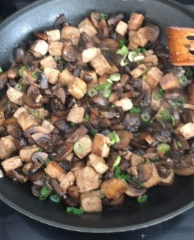 Stir-fried Mushrooms with Marinated Tofu, one of Little Bear's favorites