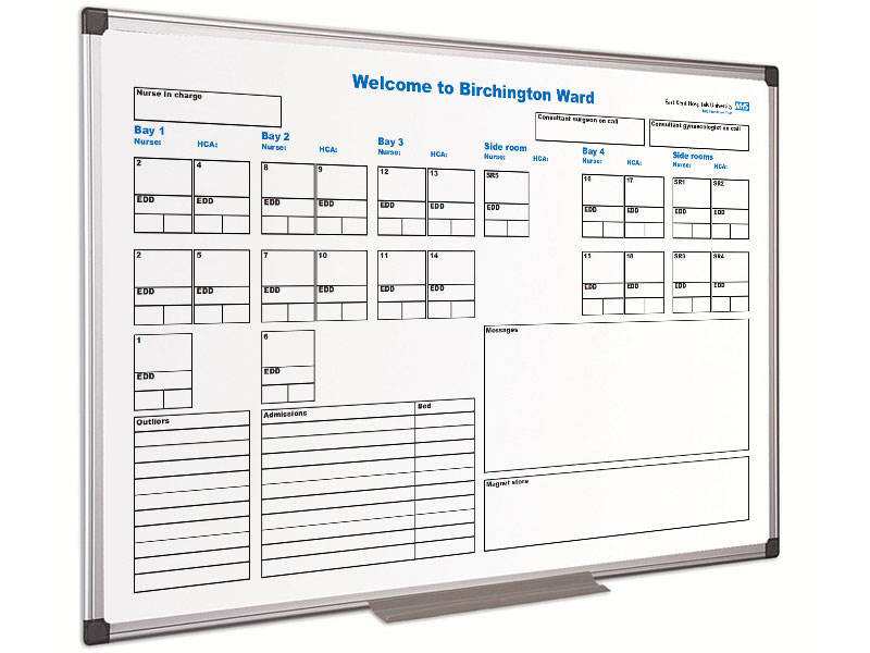 Hospital whiteboards to specific ward or department needs