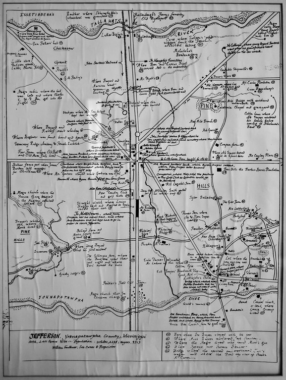A self-drawn map hanging in Faulkner's hallway, showing his fictional Yoknapatawpha county (click for full version)