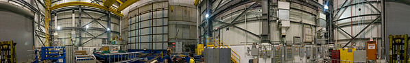 PHENIX lies behind one wall of this enormous panorama. Though the detector is brought out into this enormous room once a year during the summer for display and maintenance, we visited during an active run. Thus, while we were exposed to the normal workings of the lab, we didnt get a chance to see the detector unveiled. Click on the image to view the whole panorama.