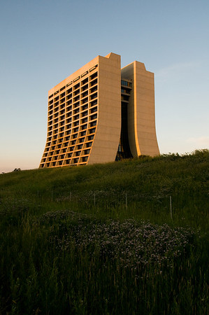 Fermilabs Wilson Hall at sunset. Naturally, the building was designed by Robert Wilson.