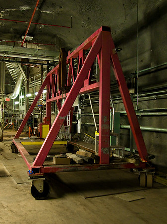 Even 350 feet underground, we could not escape the physics world's strange custom cranes.