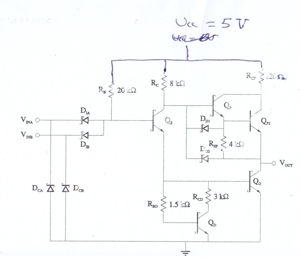 please help me to simulate this circuit using multisim i have been trying million time but i am new user its a sttl nand gate [ 999 x 865 Pixel ]