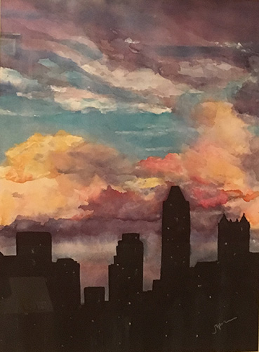 St. Joe Valley Watercolor Society Award_Spohrer_Watercolor_Evening Cityscape